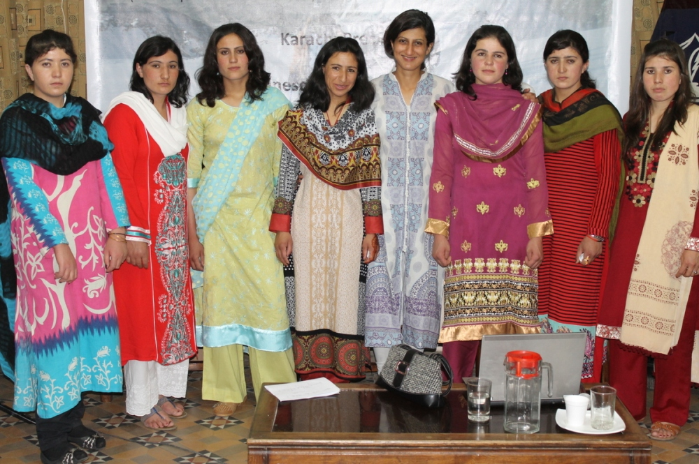 Shehrbano Saiyid and her team at a press conference held in Karachi in January, '12