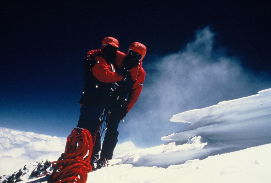A timer shot of Sabir and fellow climber Eiho Otani at the top of K2 in August 1981. Their historic expedition was the first to reach K2's summit by the West/Southwest Ridge.