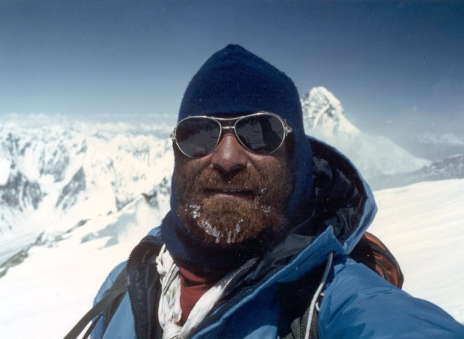 Nazir Sabir on K2, the second-highest mountain in the world, in northern Pakistan's Karakoram range.