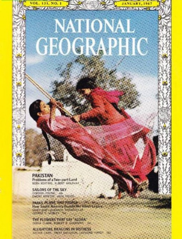 The cover of a 1967 issue of the National Geographic. It had a special photo feature on Pakistan's tourist resorts, wildlife and politics. The cover shows two Pakistani women on a swing. One's from a village in the Punjab (part of West Pakistan) and the other from a village in the Bengali-dominated East Pakistan. Source: DAWN