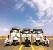 3.The Rickshaw Project team of drivers (left to right: Siraj, Imran and Ali). Photo: NOWPDP
