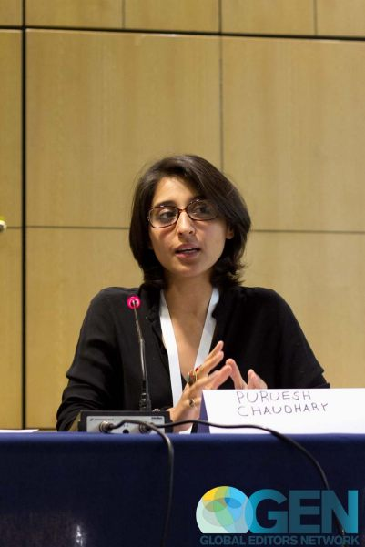 Puruesh Chaudhary speaking at the Global Editors Network in Paris
