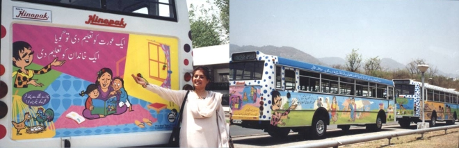 A little over a decade ago, murals by Nazar — addressing such topics as good governance, sexual harassment, and child abuse, all with a light touch — appeared on public buses in Lahore and Islamabad. Photo: Gogi Studios