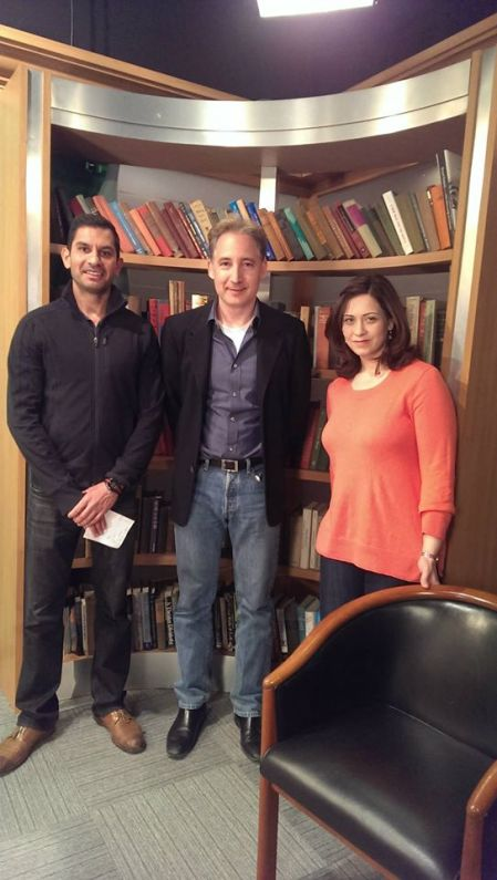 Omar Vandal, Physicist Brian Greene and Tasneem Zehra Husain at Columbia University, April 2014. Photo: M.S