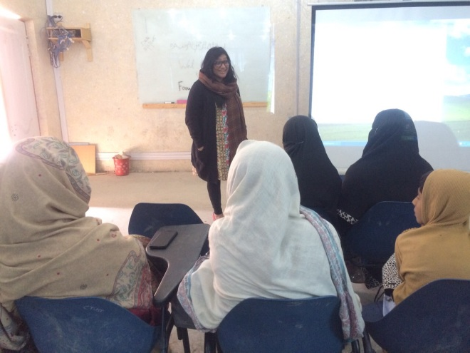 Nighat during one of her workshops in Pakistan