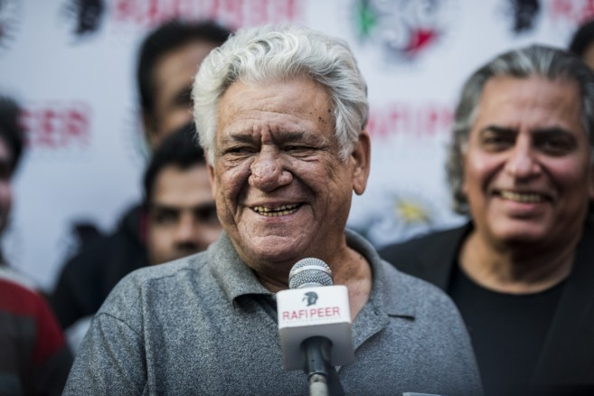 Om Puri during the press conference at the Rafi Peer Workshop's International Film Festival at Alhamra Arts Council on December 17, 2015 in Lahore, Pakistan. Photo: Saad Sarfraz Sheikh