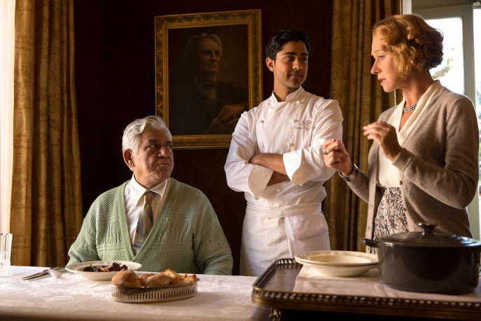 With co-stars Manish Dayal and Helen Mirren - a still from The Hundred-Foot Journey