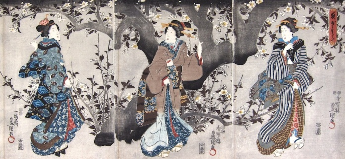 Kunisada_Yozakura, 'Cherry Blossom at Night'