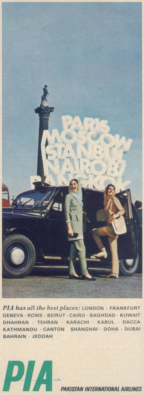 PIA's glory days: A print advertisement from the 70s showing the national airlines' air hostesses (wearing uniforms designed by Pierre Cardin) boarding a cab at Trafalgar Square in London. Photo courtesy of: Abbas Ali/History Of PIA.