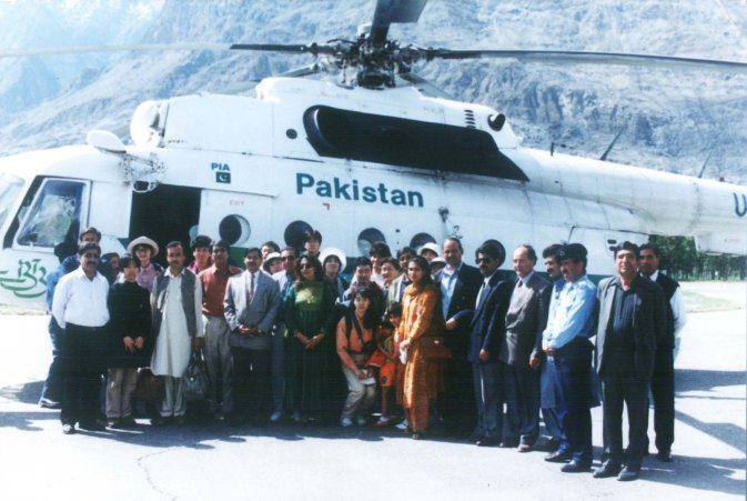Indus Guides with a Japanese tour group at Gilgit airport in 1999. Photo courtesy of: Indus Guides.