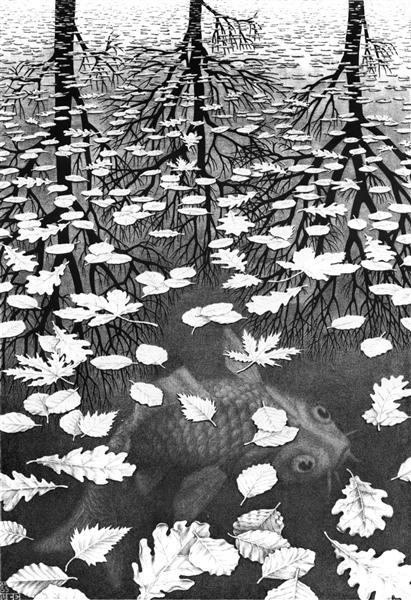 Three Worlds - M.C. Escher